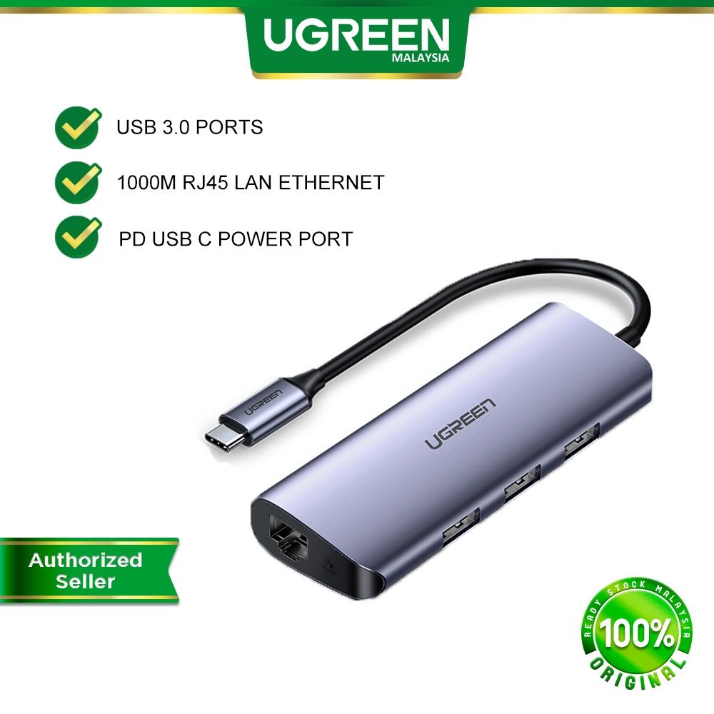 UGREEN 4 in 1 Multifunction Hub Type C to USB 3.0 A Hub RJ45 1000Mbps Gigabit LAN Ethernet + PD Charge for Macbook Asus