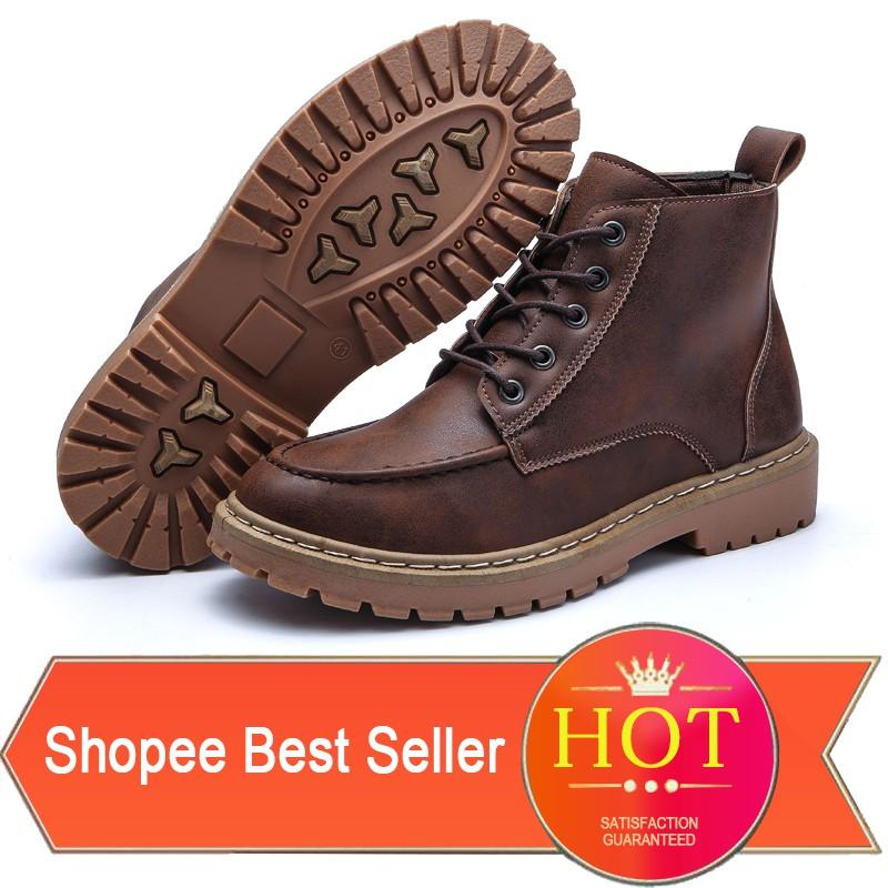【สต็อกพร้อม】จัดส่งฟรี!EU 39-44 Men's Martin Boots รองเท้ามาร์ติน PU รองเท้าบุรุษ รองเท้าแฟชั่นผ