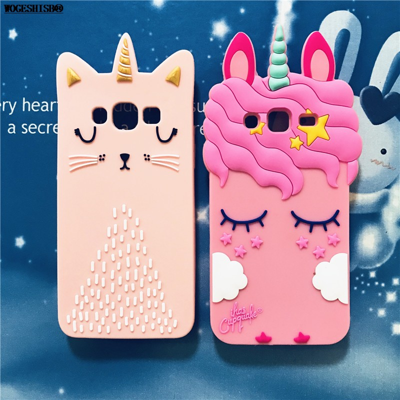 huge selection of 812b3 04c5f Samsung Galaxy J1 J3 J5 J7 2015 2016 2017 Pro Case Unicorn Cat Silicone  Cover