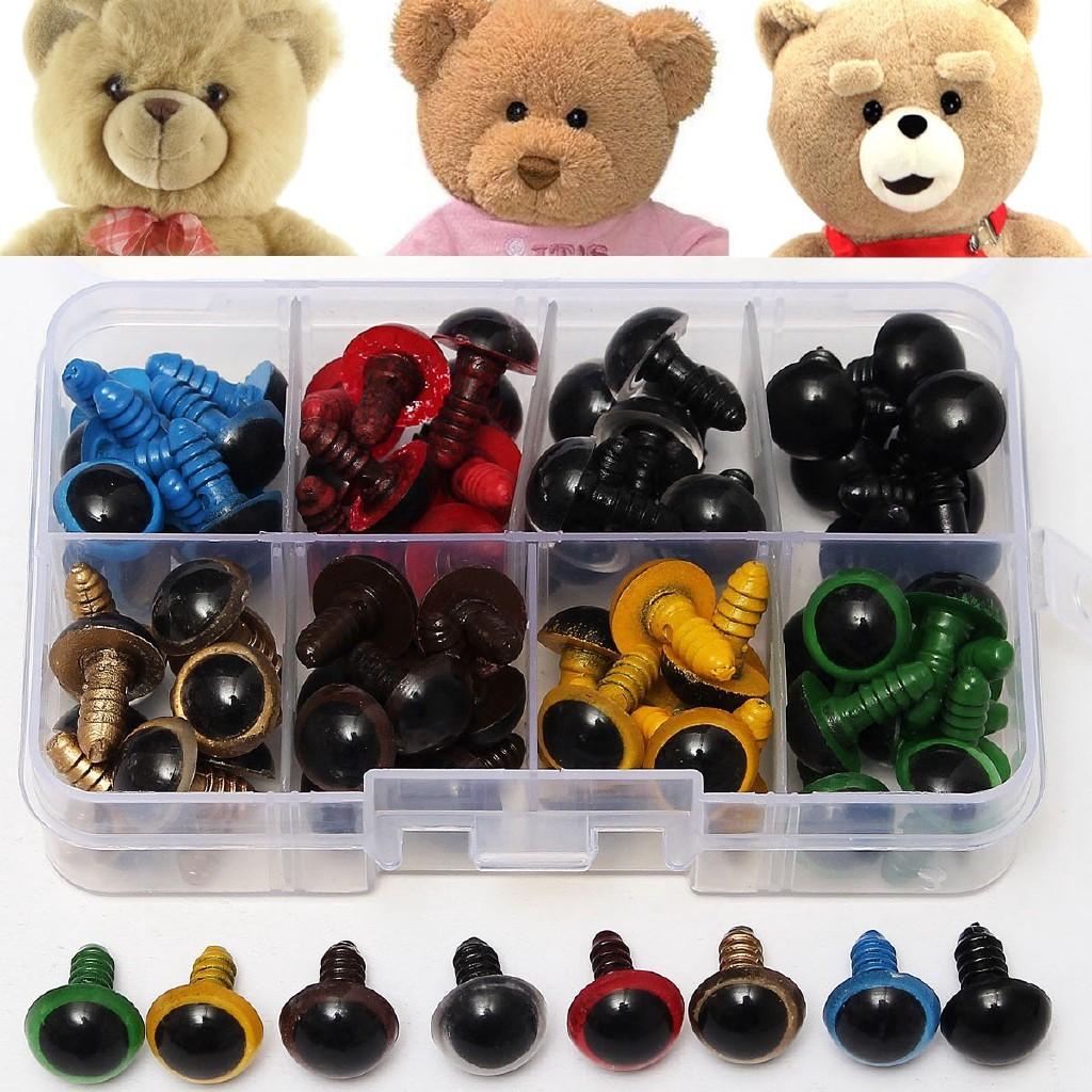 Plastic Fake Eyes for Toy 264 Pcs 6-12mm Plastic Screw Safety Fake Round Eyes Colorful /& Black Eye Puppet Plush Animal Doll Toy Eyes with Storage Box