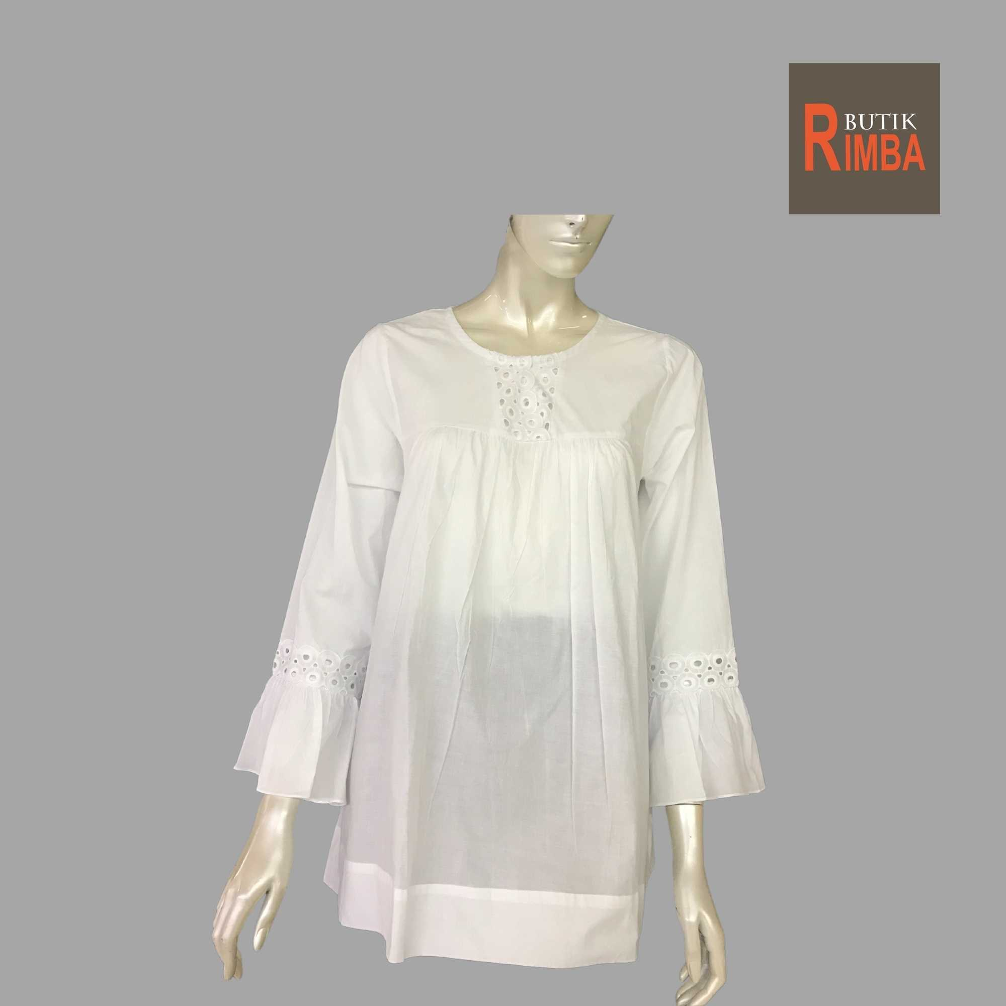 WOMEN CASUAL AND COMFORTABLE WHITE BLOUSE COTTON FREE SIZE PATTERN 17