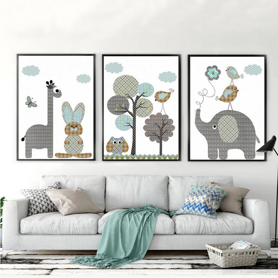 Giraffe Elephant Rabbit Nordic Posters Prints Wall Art Canvas Painting Animal Kids Baby Room Scandinavian Decor