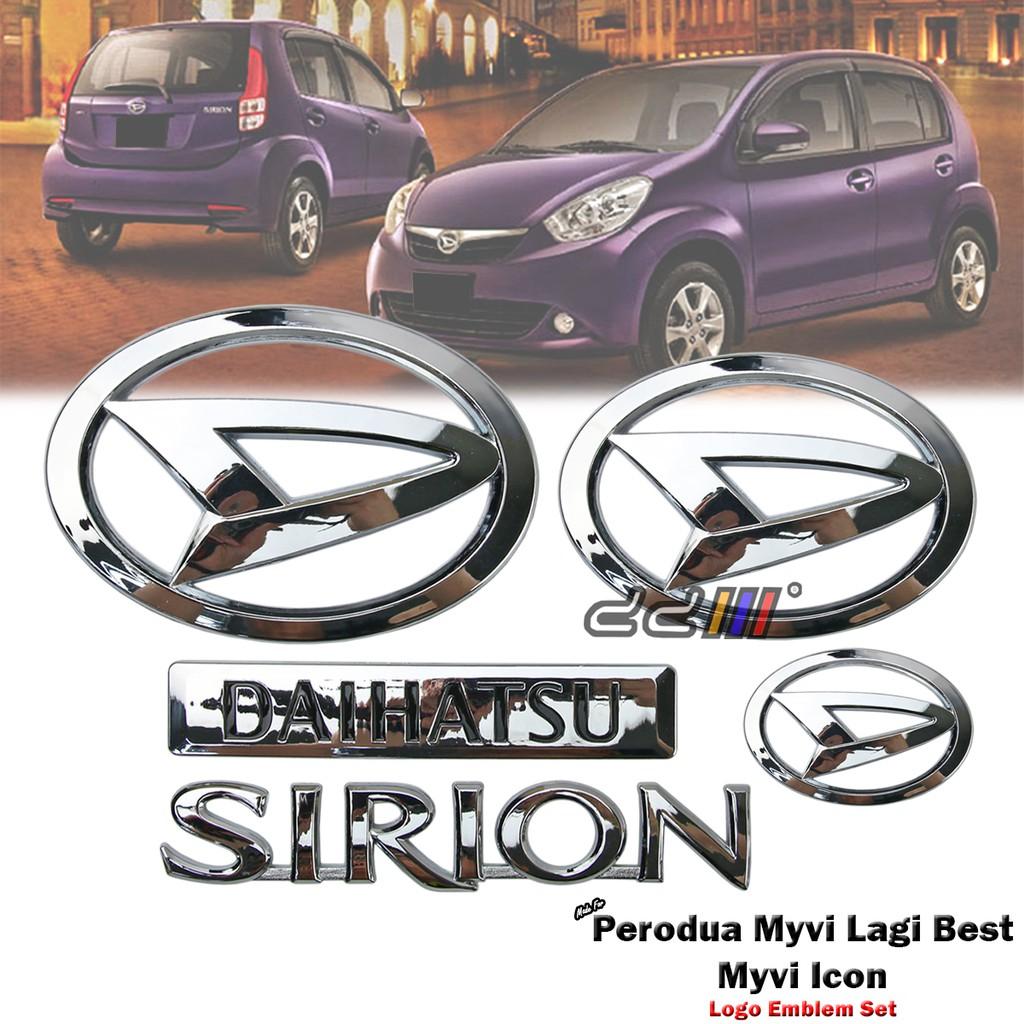 Chrome Daihatsu Sirion Logo Emblem Badge Set For Perodua Myvi Lagi Best  2011-17