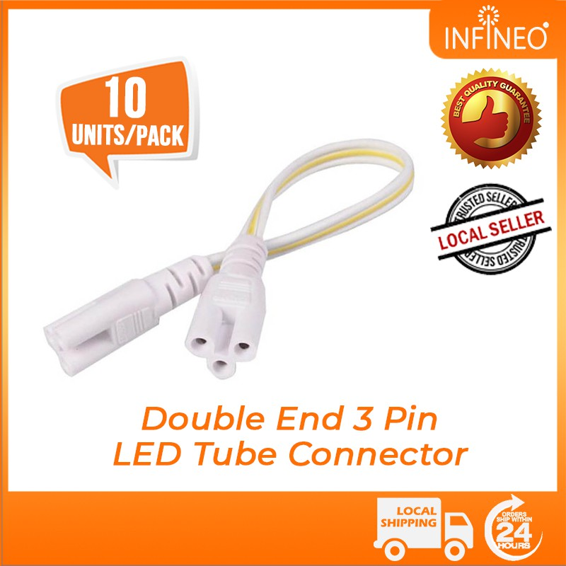 (10pcs/pack) T4 T5 T8 LED Tube Connecting Fluorescent Lamp Connector Cable Female Plug 3 Pin Double Ends 20CM