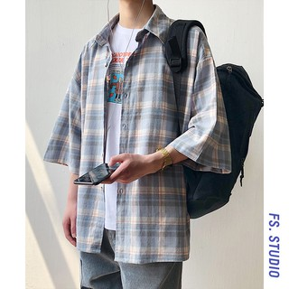 cool not block~couple summer loose wild plaid short-sleeved shirt