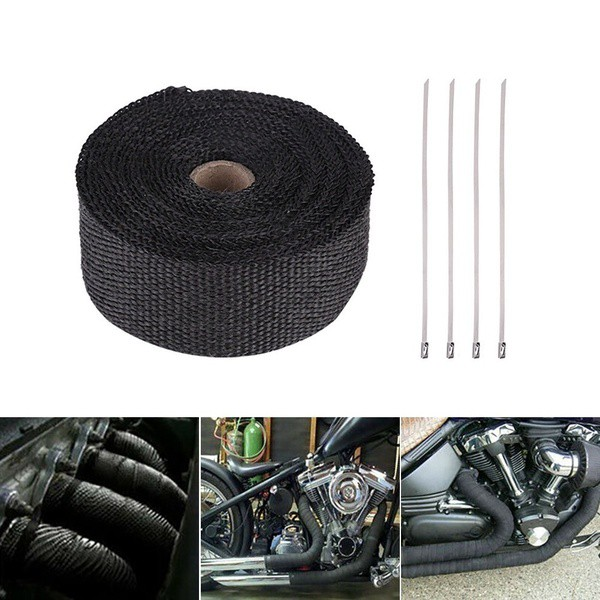 SWI Parts 2 x25ft Roll Black Racing Fiberglass Exhaust Header Pipe Wrap Tape W//6 Stainless Steel Zip Ties