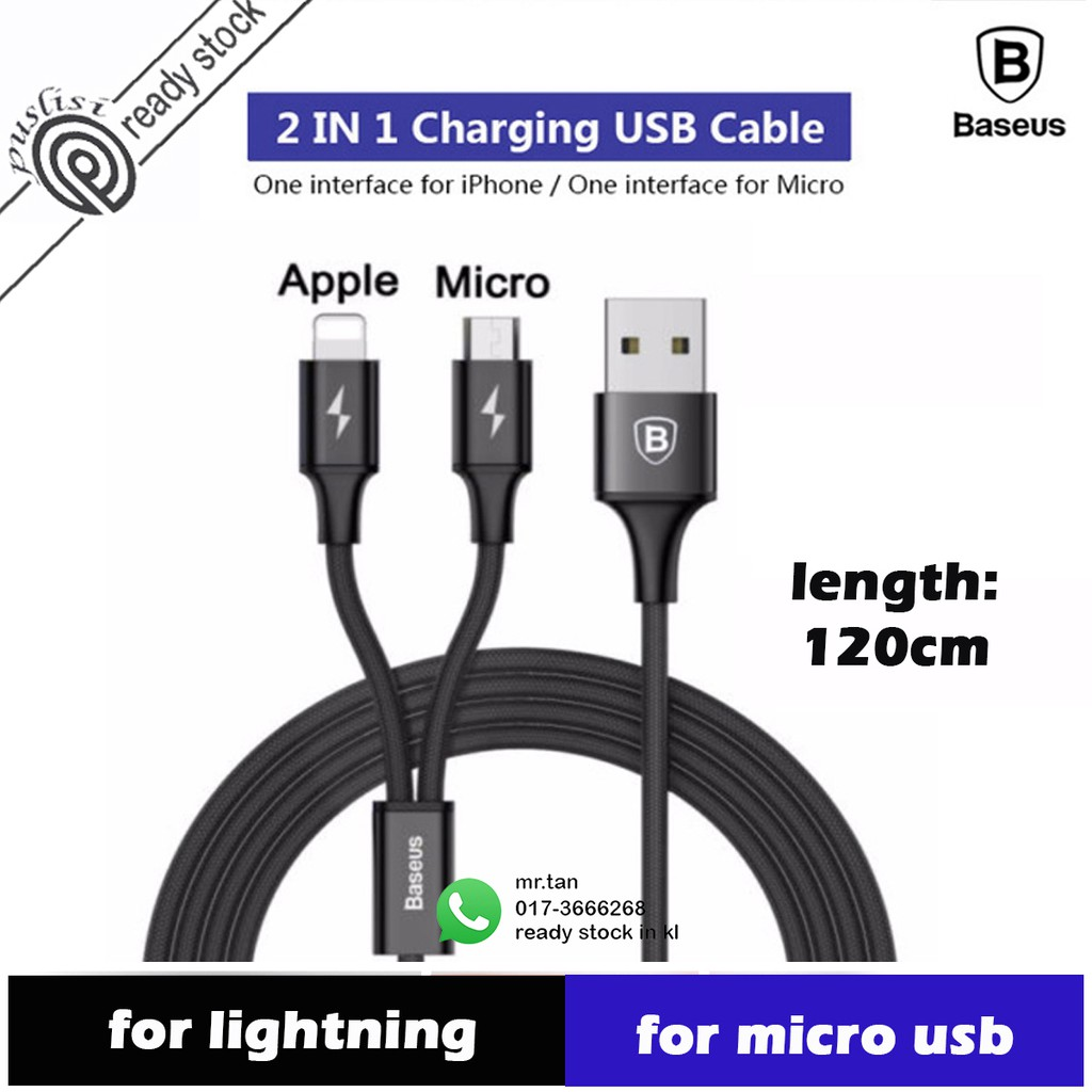 Baseus 2 in 1 fast charging cable Micro USB Type C Android HUAWEI Samsung | Shopee Malaysia