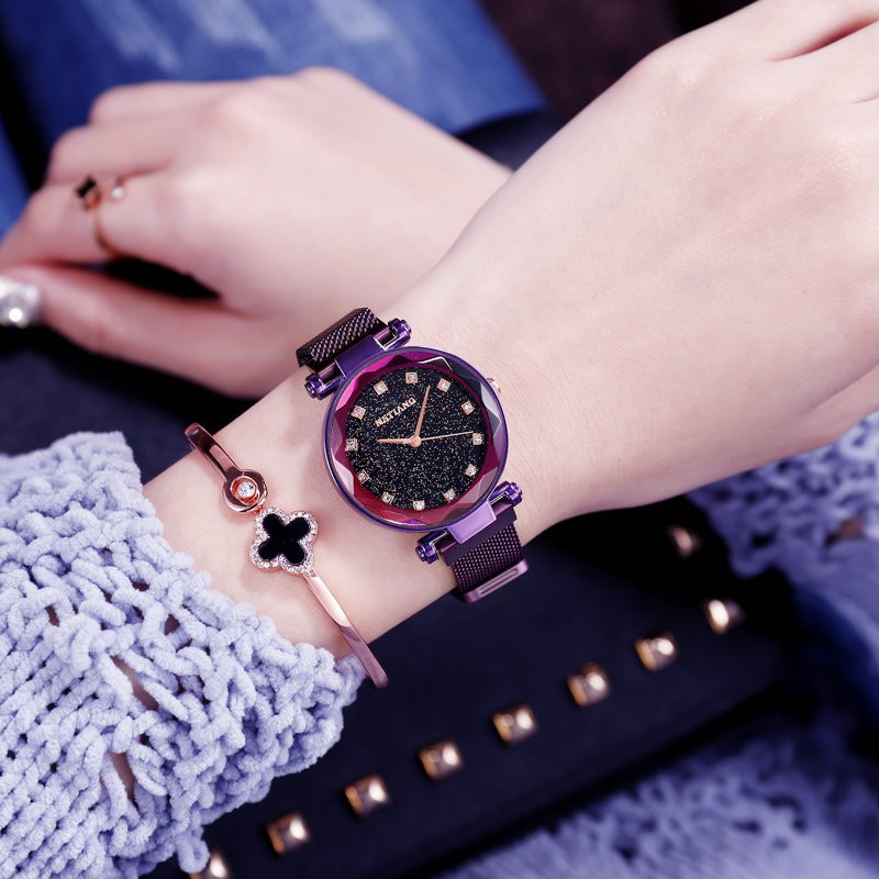 fc0bd924a ProductImage. ProductImage. 2019 Fashion Women Watch Starry Dial Magnetic  Band Stainless