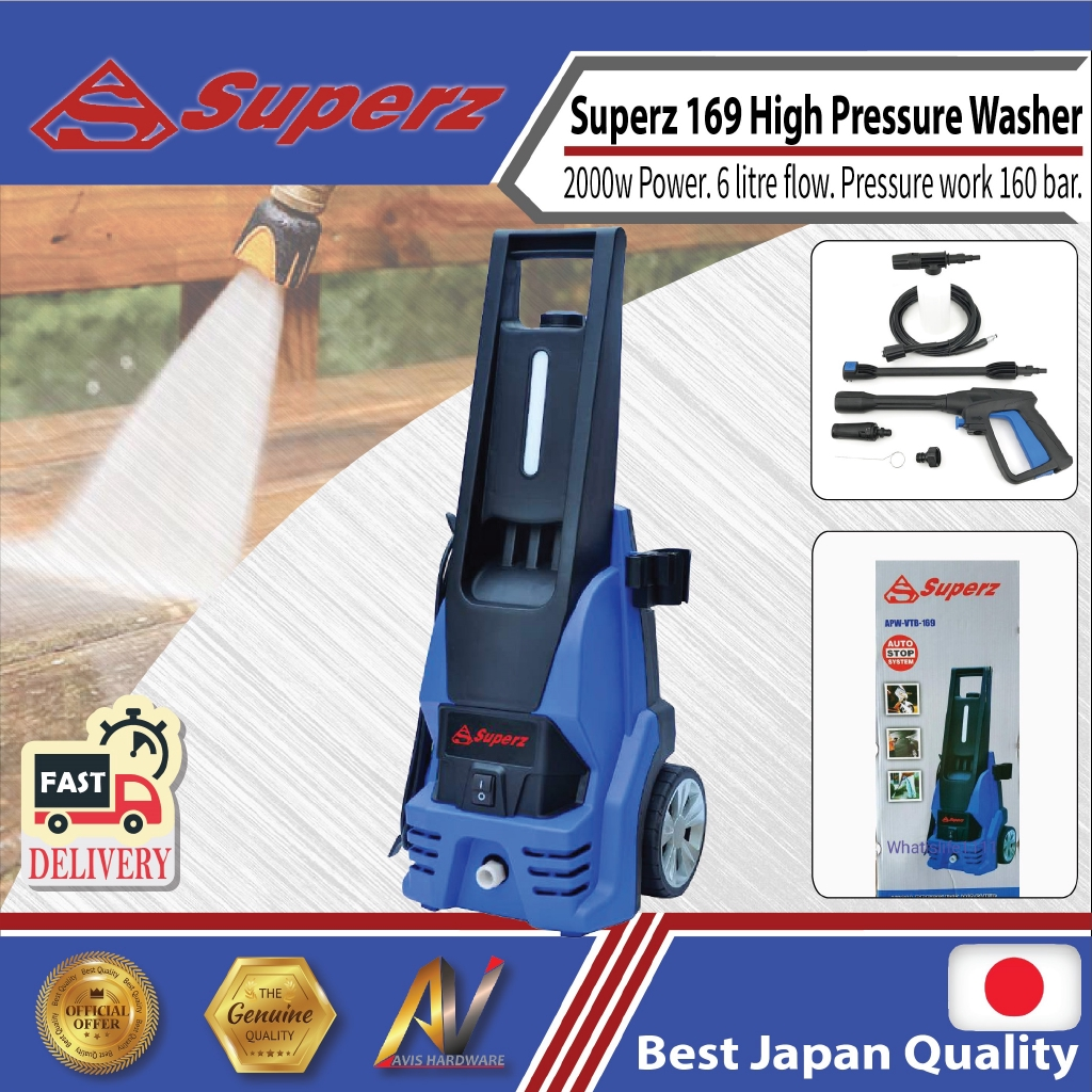 superz 169 High Pressure Washer with adjustable 160bar 2000w