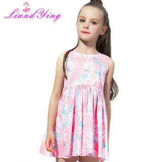900884d9b7 Girls Summer Dresses 2018 Animals Girl Dress Flamingos Leaves ...