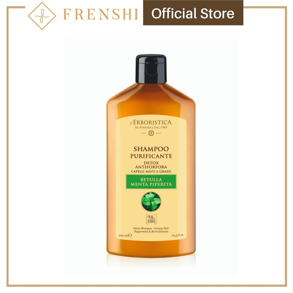 Frenshi L'Erboristica Hair Shampoo (Made in Italy) - SHAMPOO WITH BIRCH & PEPPERMINT EXTRACT 300ML