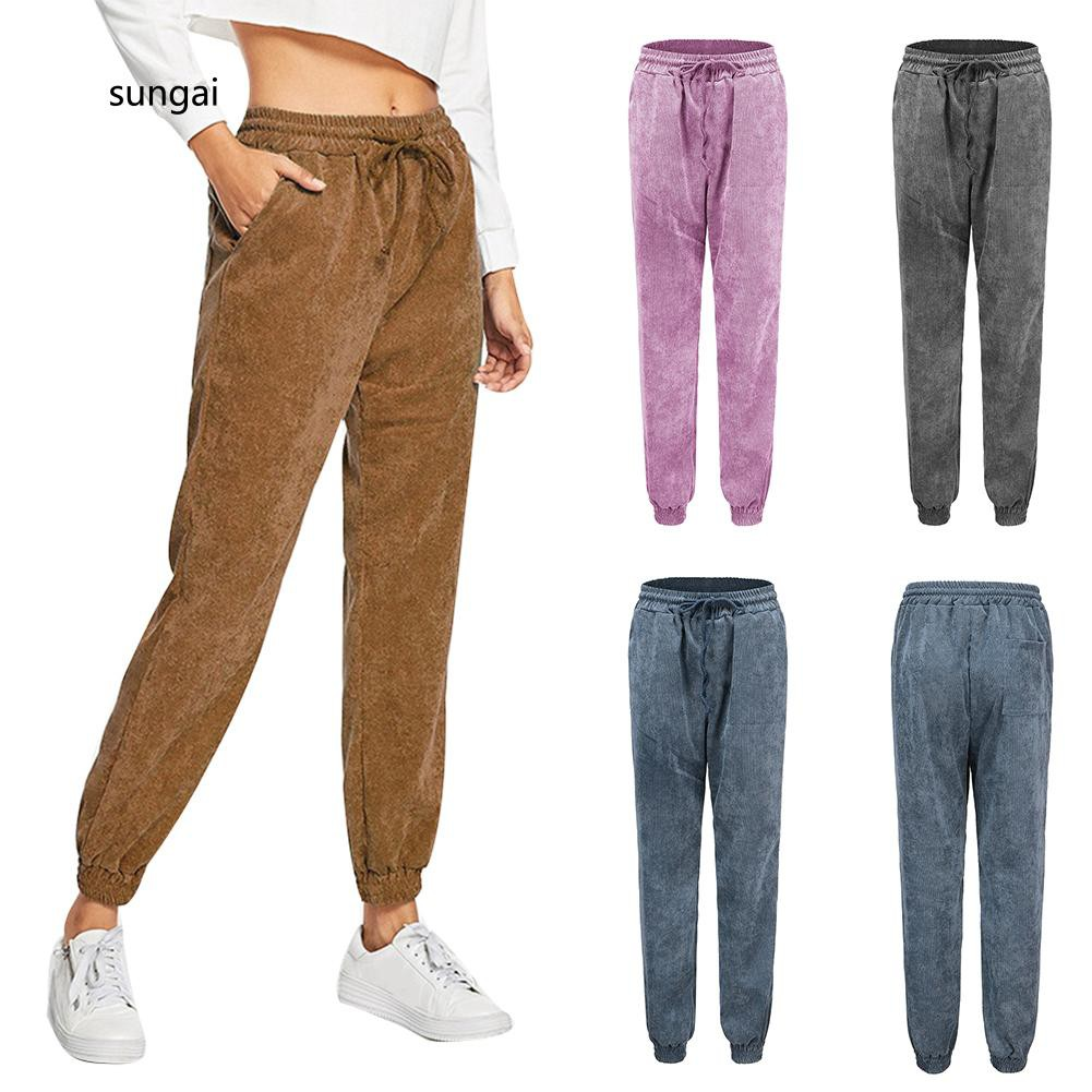 reputable site sneakers for cheap bottom price ☆SG☆Winter Casual Solid Color Corduroy Pants Women Drawstring Loose Long  Trousers