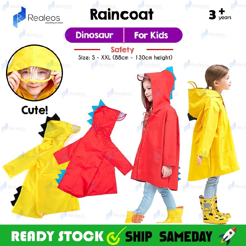 Rain Jacket For Kids Watertight Cloak Dinosaurs Hooded Raincoat Overall Suit New