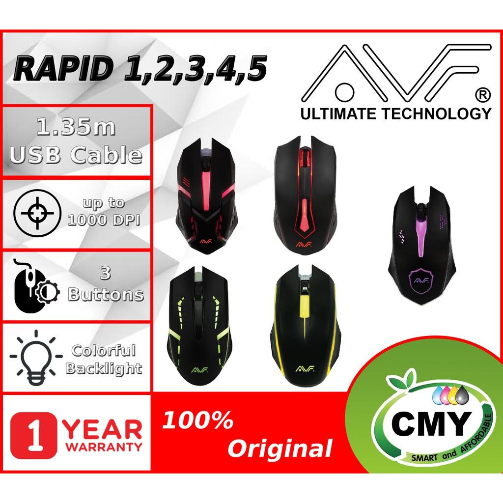 AVF Gaming Gear Rapid 1 Rapid 2 Rapid 3 Rapid 4 Rapid 5 Wired 3D Optical Mouse (1000dpi) USB Black
