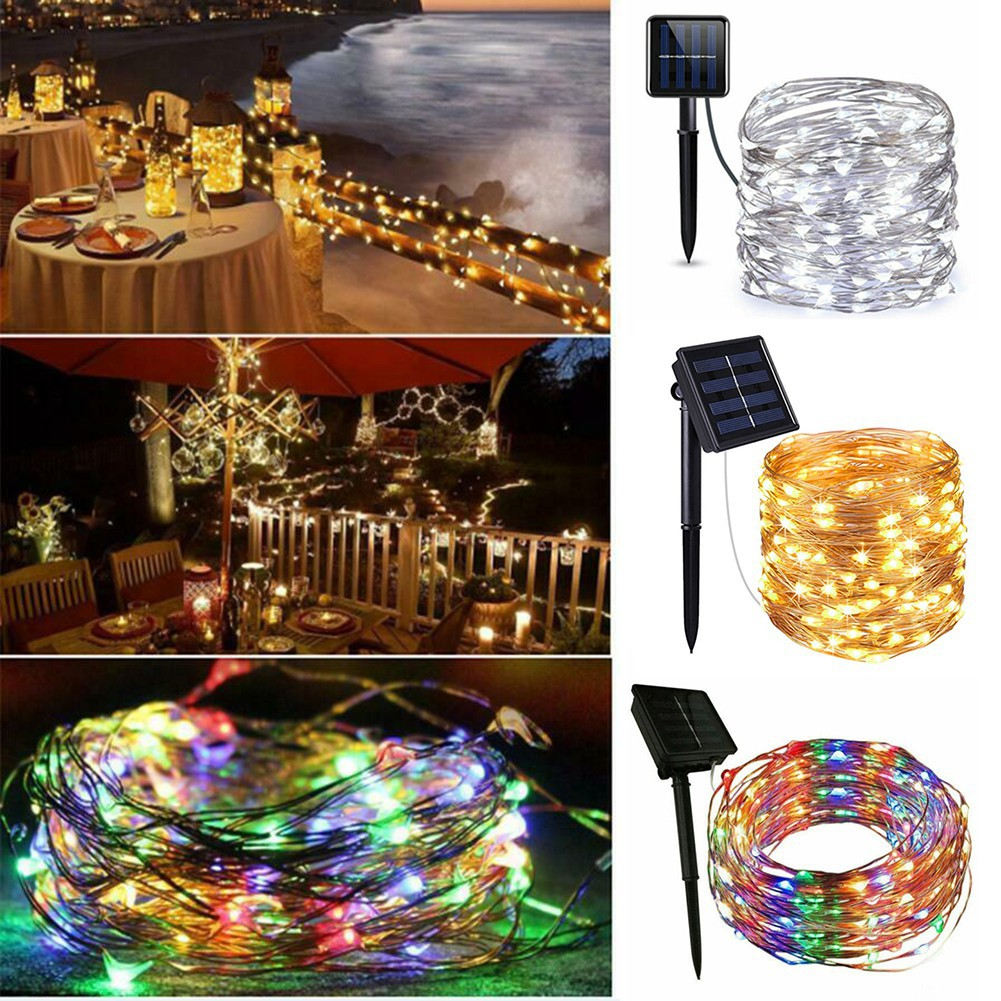 10M 100LED Long Copper Solar String LED Wire Fairy Lights  Waterproof Outdoor
