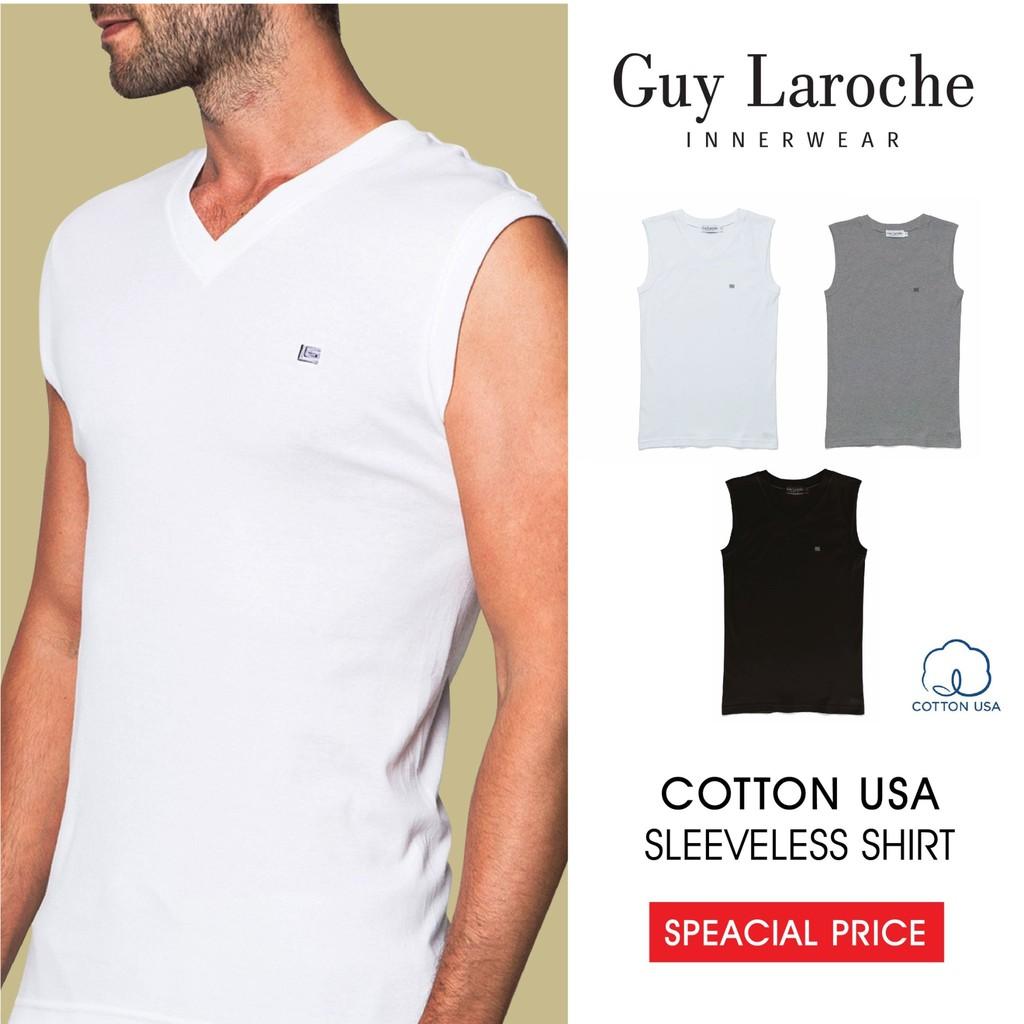 Guy Laroche เสื้อยืดชาย (คอวี แขนกุด) ผ้า Cotton USA 100% (JVS24