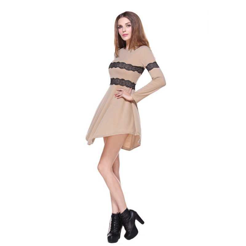 Fashion Women Slim Dress Lace Panelled Long Sleeve Evening Party Dress