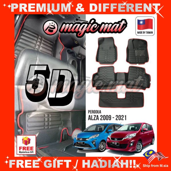 [FREE GIFT Gift] PERODUA ALZA (7 Seater) MAGIC MAT 5D OEM PU Leather Floor Mat Anti-Slip Easy Clean Carpet