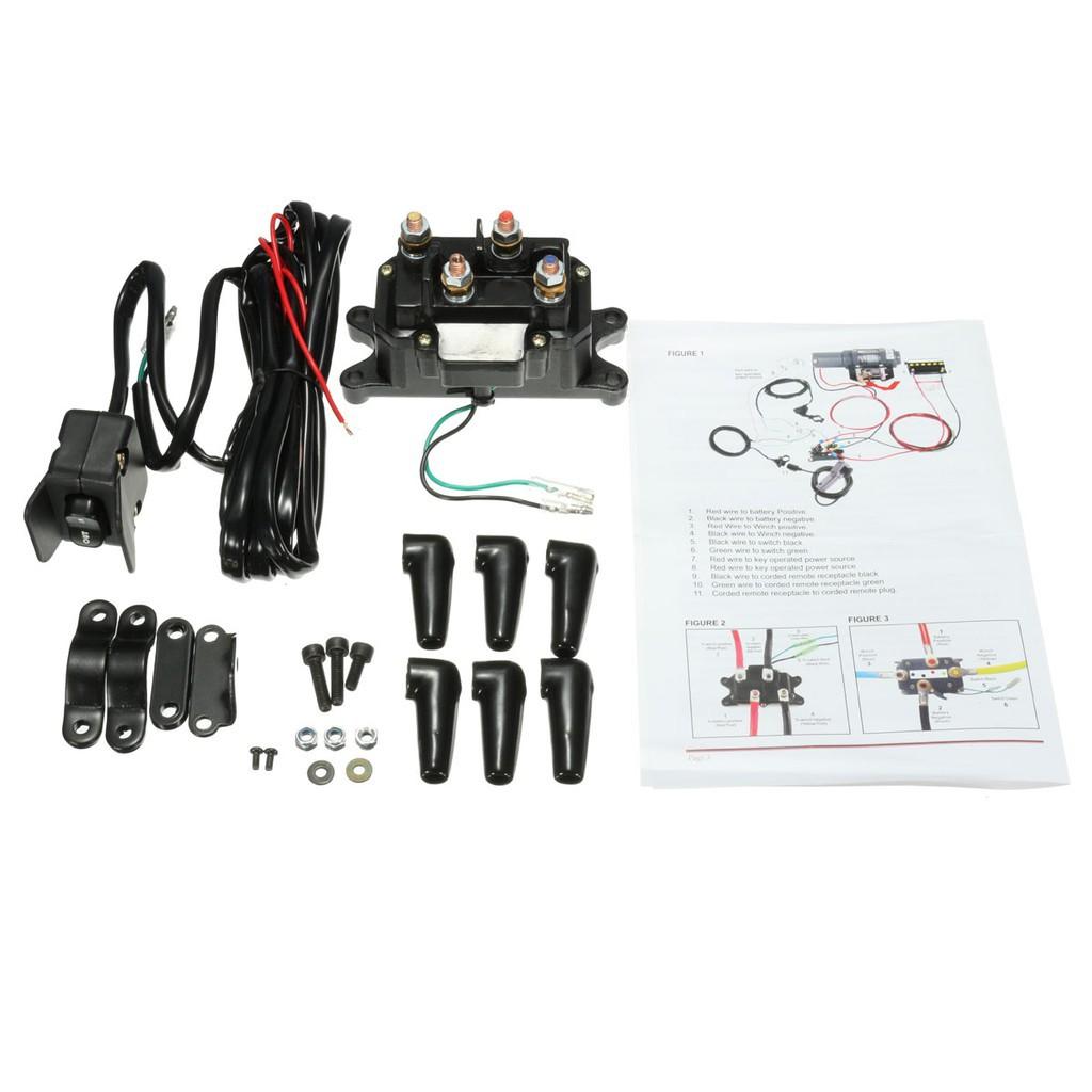Winch Rocker Thumb Switch Tool Kit DC12V 200A ATV UTV Solenoid Relay Contactor