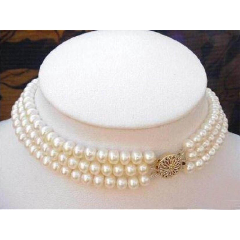 """3Rows 7-8MM Black White Natural Pearl Necklace 17-19/"""""""