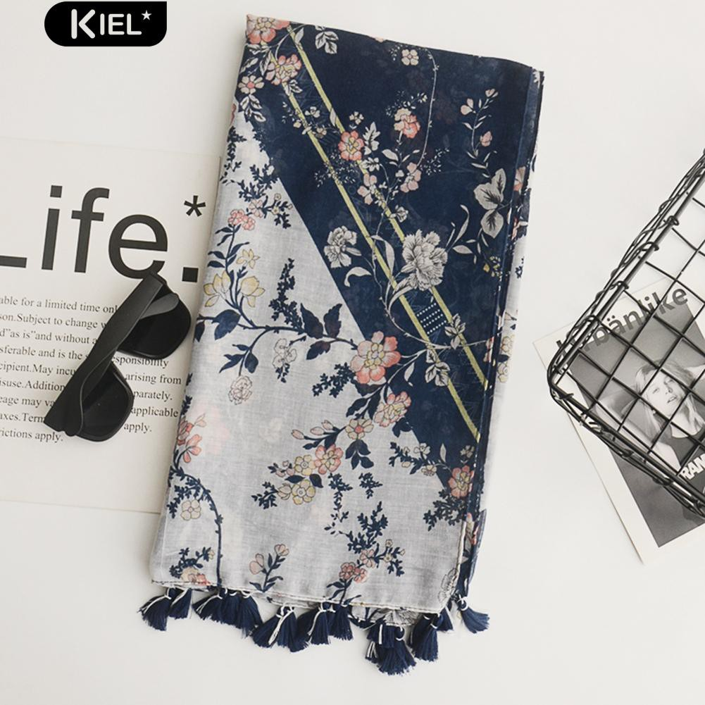 Kiel Floral Print Scarf Linen Cotton Wrap Beach Towel Travel Tassel Shawl Gift