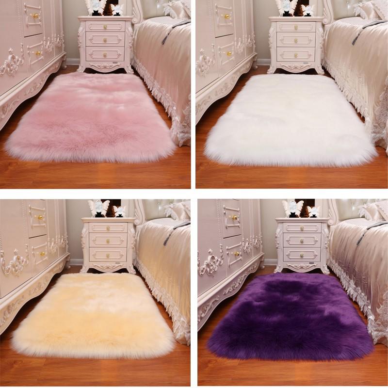 Premium Fluffy Wool Faux Fur Rug Carpet Home Sofa Mat