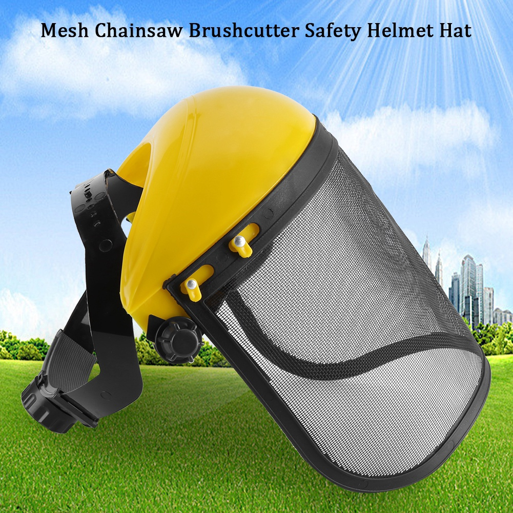 Safety Helmet Hat with Full Face Mesh Visor for Logging Brushcutter Forestry   050978a53e0d