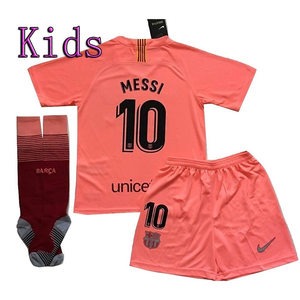 hot sale online eb98e 6e1f2 (Free Socks) Kids Messi 10 Barcelona 3rd Jersey Shorts