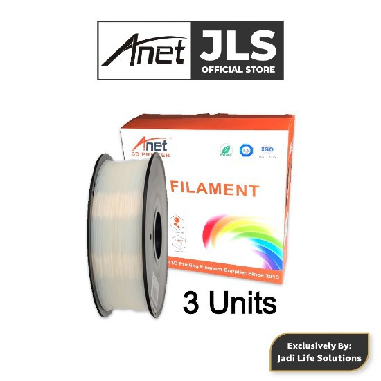 3 Units Anet 340m 1.75mm PLA 3D Printing Filament Biodegradable Material - White