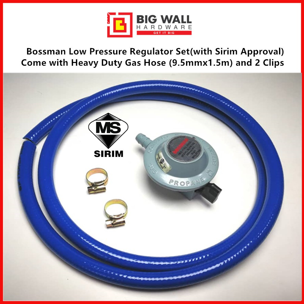 Bossman Low Pressure Regulator (with Sirim Approval) 1 Set with Heavy Duty Gas Hose (9.5mmx1.5m) and 2 Clips/Kepala Gas