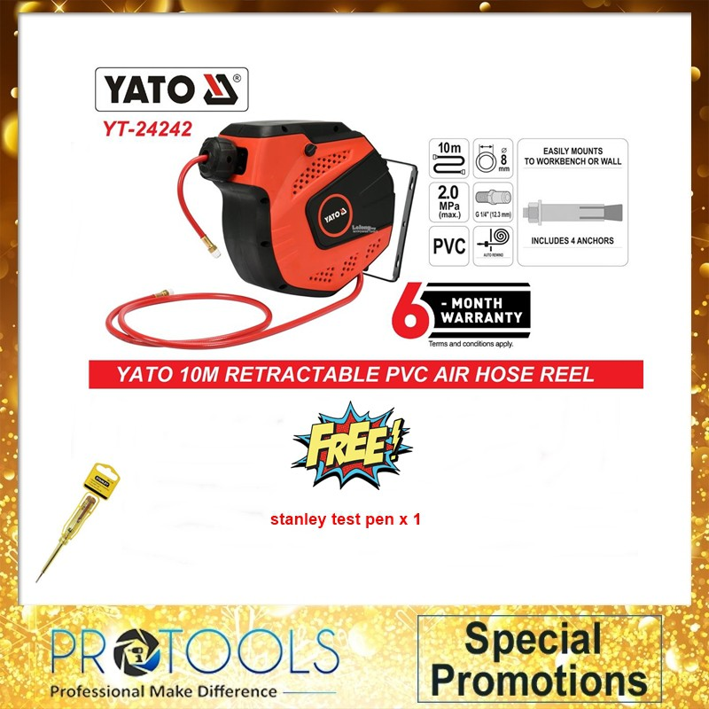 YATO YT-24242 12MM X 10MTR AUTO RETRACTABLE PNEUMATIC AIR HOSE REEL