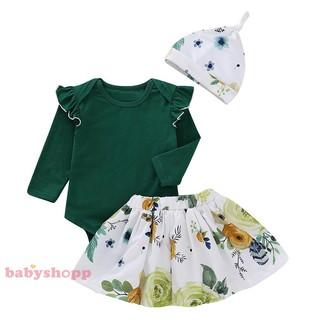 b2463162e ❤bsp❤3pcs Kids Baby Flying Sleeve Rompers Floral Print Skirt Hat ...