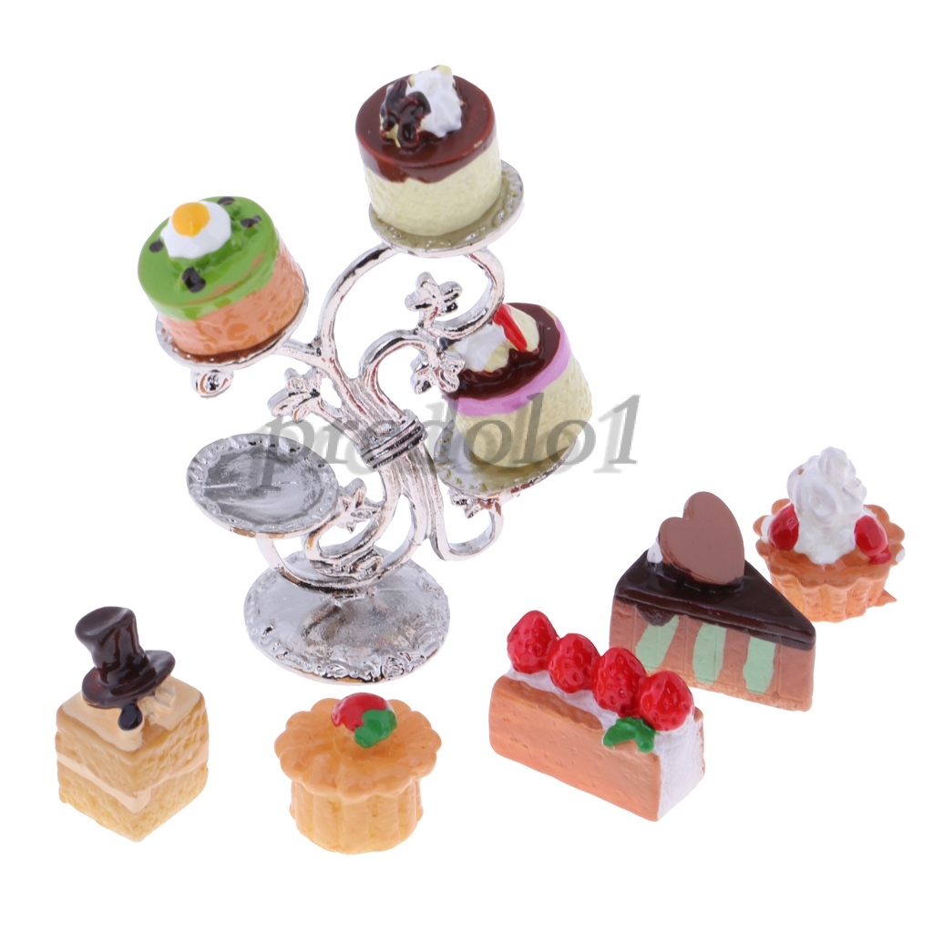 1:12 Dollhouse Miniature Dessert Cakes /& Cake Cabinet Kitchen Supplies Accs