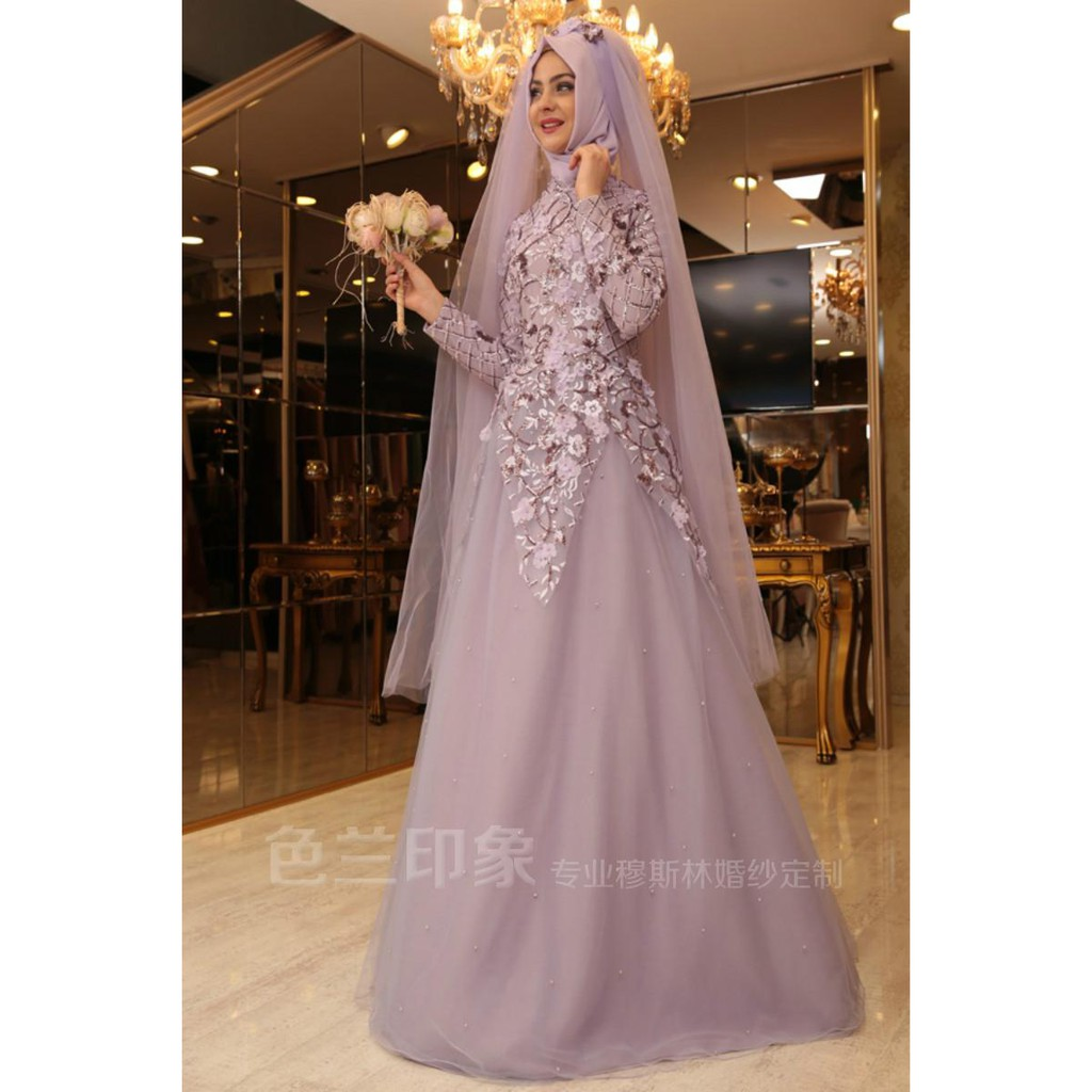 new muslim bride's wedding dress pink gold embroidered lace high-end custom dress