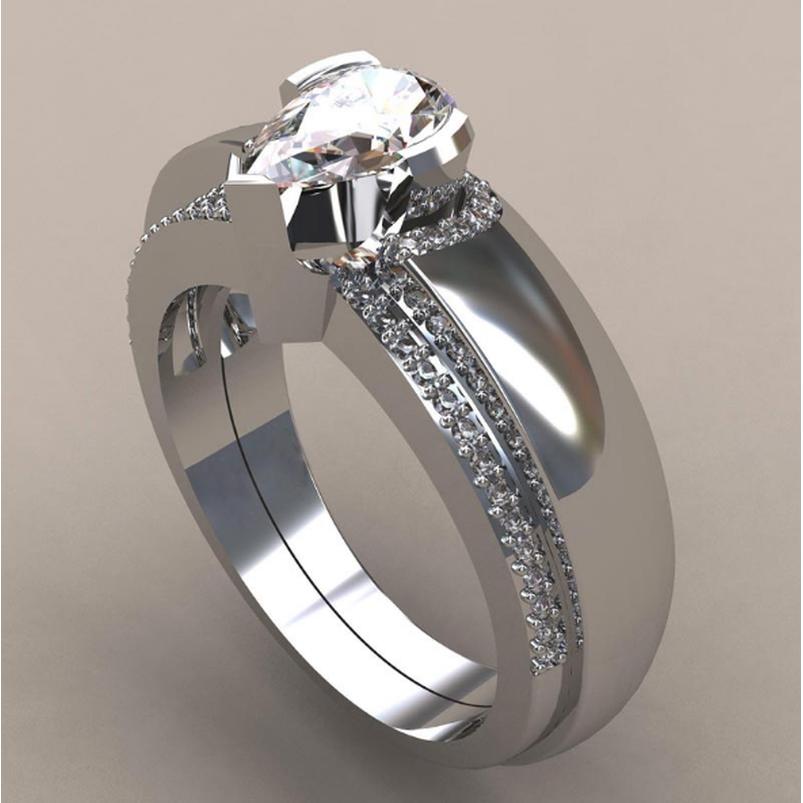 Simple Fashion Dripping Diamond Ring Women Bride Wedding