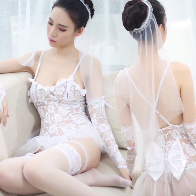 1b7bd1becb  READY STOCK  White Lace Wedding Bride Costume Lace Sexy Lingerie MS286