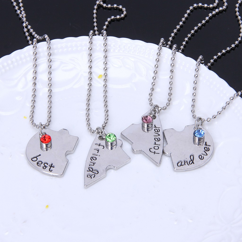 3 Best Friend Forever Necklace,Puzzle Piece Heart Necklace with Hearts,Friendship Crystal Necklace