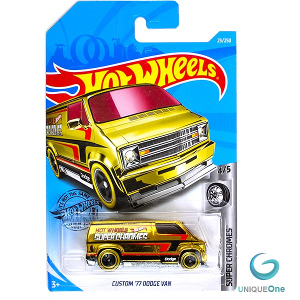 Hot Wheels CUSTOM \'77 DODGE VAN #23/250 ✰Gold✰SUPER CHROME ✰Hot Wheels 1/64 diecast model
