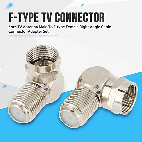5 X Right Angle F Type Adapter Quick Push On Male to F81 Female TV Coax Coaxial