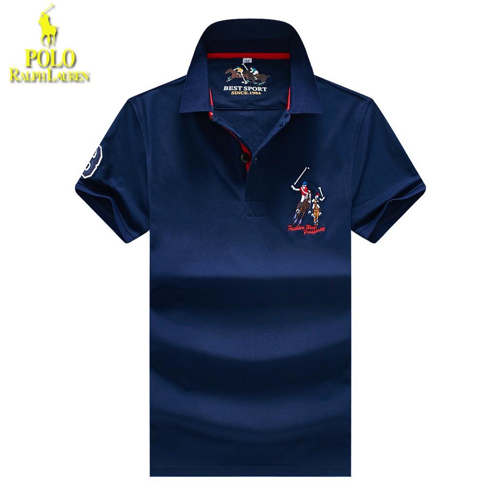 Big Lapel Ralph Stand Sleeve Polo Shirt Fashion Summer Lauren Short 2WH9IED