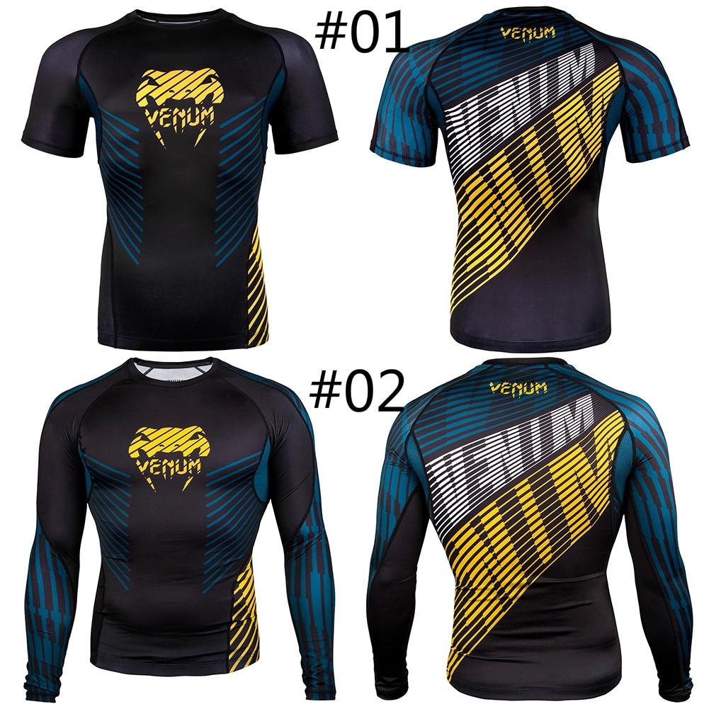 Venum No-Gi 2.0 Short Sleeve MMA Compression Rashguard BJJ T Shirts Male UFC