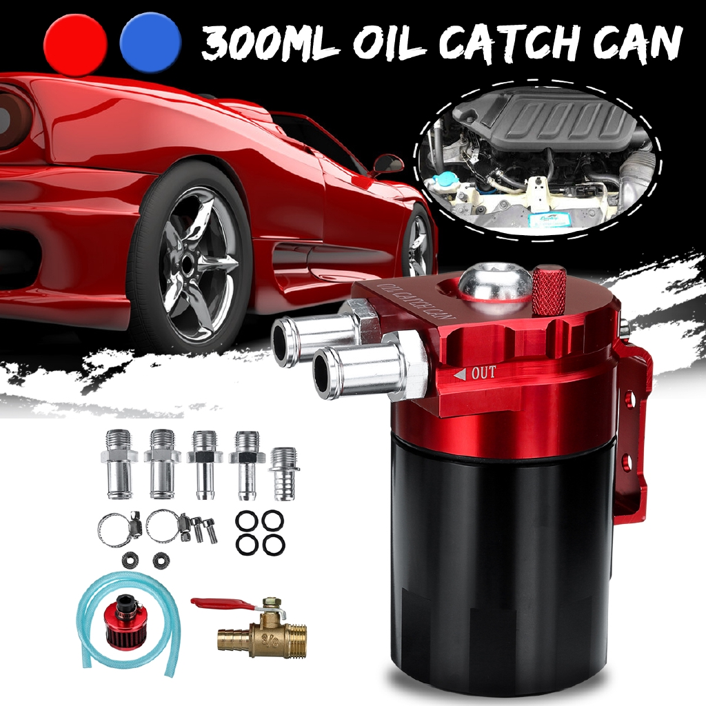 JDM Cylinder TURBO ENGINE OIL CATCH RESERVOIR TANK CAN /& Breather Filter RED