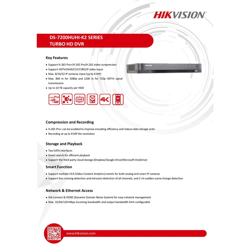 HIKVISION DS-7216HUHI-K2 Analog 16CH 8MP H 265+ Video
