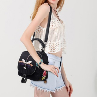 7f4241341f02 Women Fashion Floral Embroid Backpack Student Casual Pack Beg Bags ...