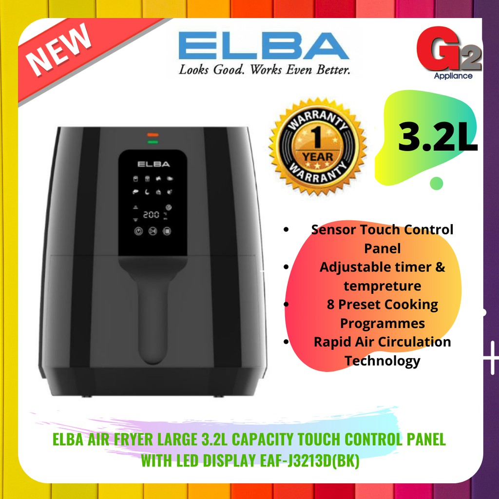 ELBA Air Fryer Large 3.2L Capacity Touch Control Panel  With LED Display EAF-J3213D(BK)-Elba Warranty Malaysia
