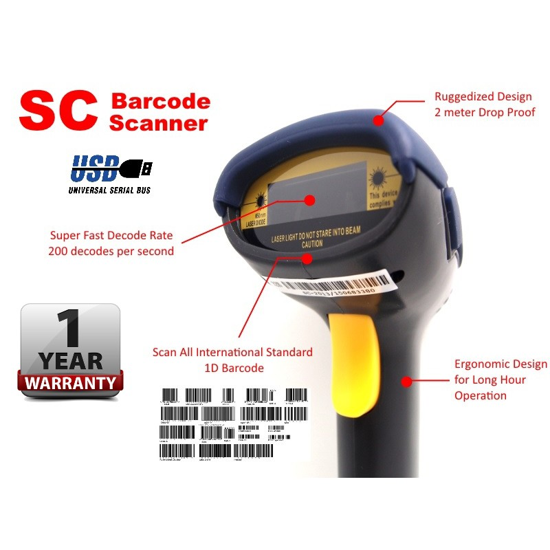 SC USB Laser POS 1D Barcode Scanner