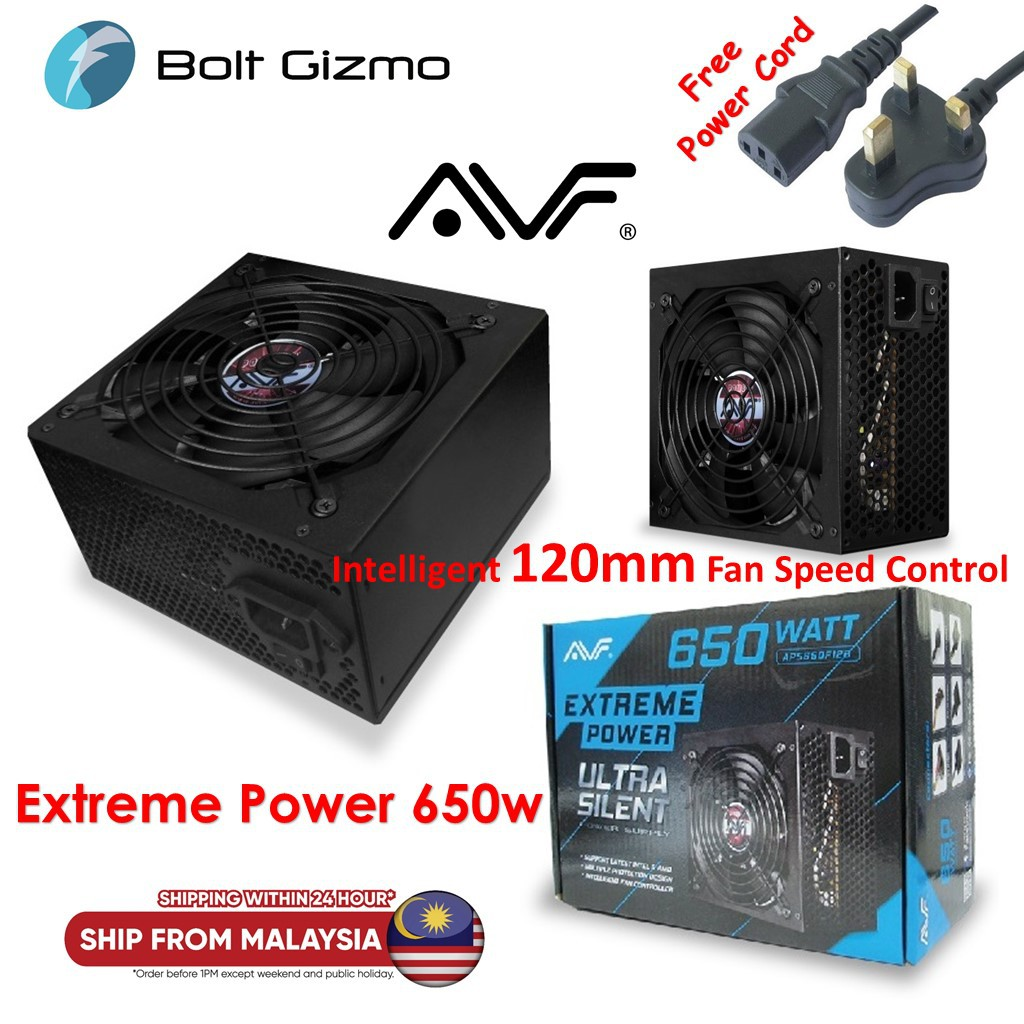 AVF EXTREME POWER 650W POWER SUPPLY (APS650-F12B) FOR DESKTOP, PC, CPU, COMPUTER