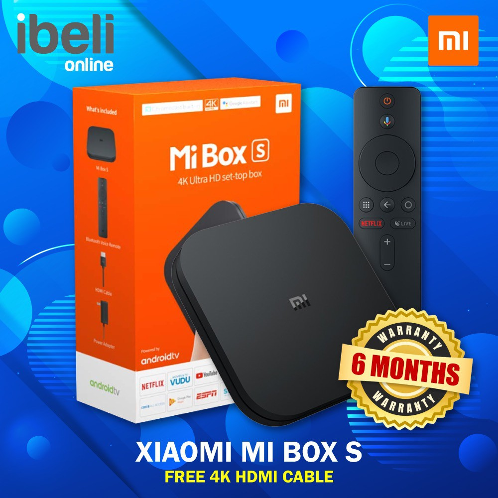 [GLOBAL VERSION] Xiaomi Mi Box S 4K HDR Android TV Box With Google  Assistant Media Player Android 8 1 MiBox S