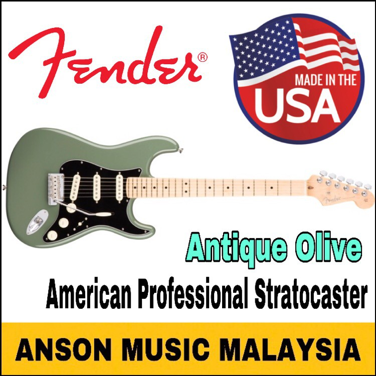 Fender American Professional Stratocaster, Maple Fingerboard, Antique Olive