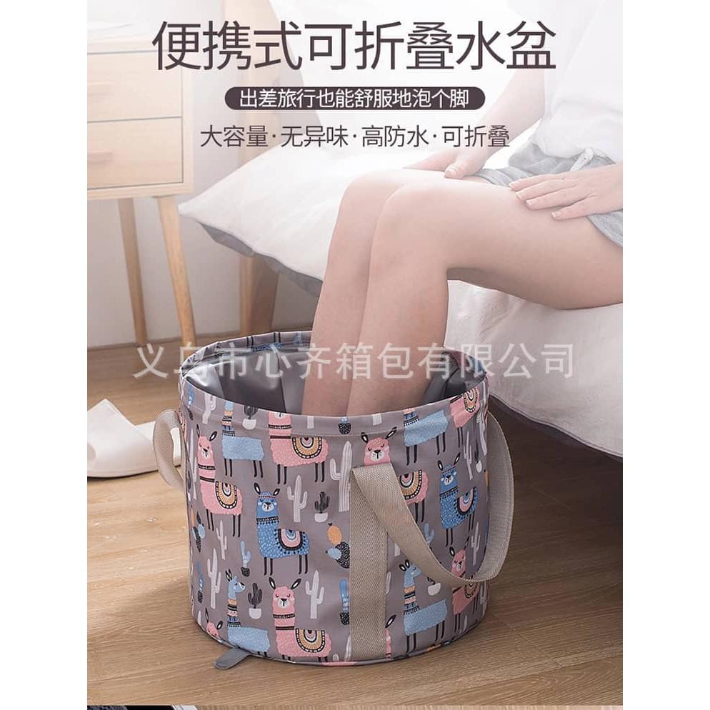 便携式可折叠水盆大号旅行泡脚袋 Portable collapsible large travel foot bag